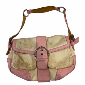 Coach Pink Leather White Canvas Hobo Purse